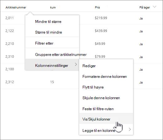 Klikk pil ned på en hvilken som helst listeoverskrift, velg kolonneinnstillinger, og deretter Vis/Skjul kolonner