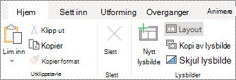 Oppsett-knappen på hjem-fanen på båndet i PowerPoint online.