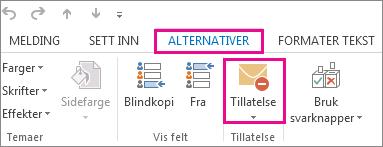 Klikk Tillatelse på Alternativer-fanen