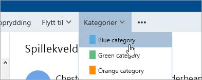 Et skjermbilde av knappen kategorier