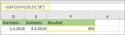 """= DATODIFF (D9, E9, """"d"""") med resultatet 856"""