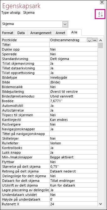 Skjermbilde av Access-egenskapsarket uten egenskapsortering