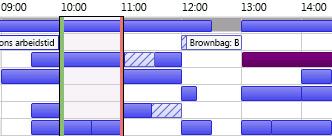 Rutenett for ledige/opptatte tidspunkter i Outlook