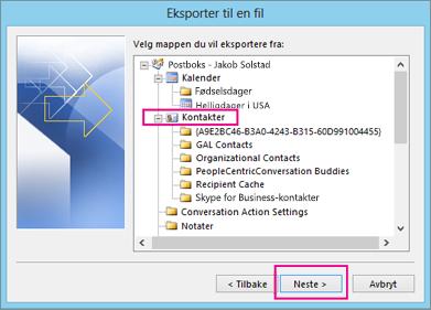 Velg kontaktmappen du vil eksportere.