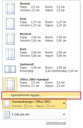 Klikk Office 2003 Standard, og velg Egendefinerte marger.