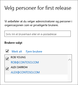 Legg til brukere i Utgivelsesprogrammer for Office 365