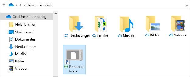 Snarvei til Personlig hvelv i OneDrive