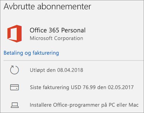 Viser et Office 365-abonnement som er utgått