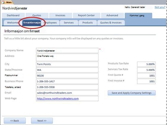Kategorien Firmainformasjon i tjenestedatabasemalen