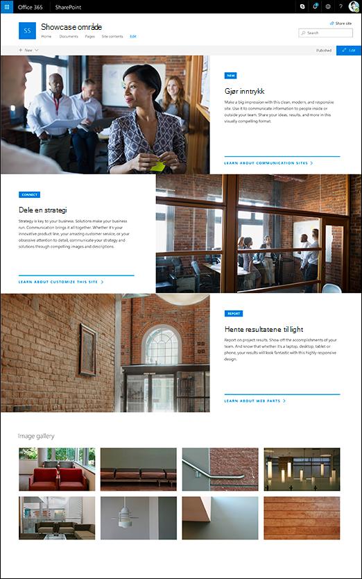 SharePoint-kommunikasjon showcase Områdeutforming