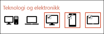 Du kan velge flere ikoner du vil sette inn ved å klikke hver av dem én gang.
