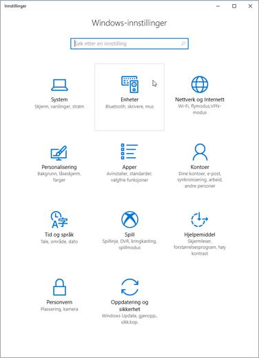 Innstillinger for Windows-enheter pic
