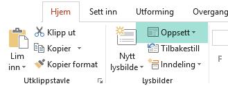 Oppsett-knappen på Hjem-fanen i PowerPoint viser alle tilgjengelige lysbildeoppsett