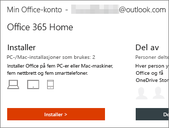 For Office 365-abonnementer velger du Installer > på hjemmesiden for Min Office-konto