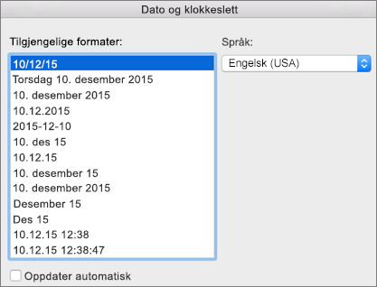 Dialogboksen for dato og klokkeslett