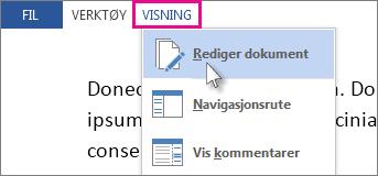 Bilde av del av Visning-menyen i lesemodus, med alternativet Rediger dokument valgt.