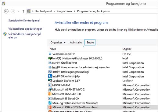 Klikk på Endre i appleten Avinstaller programmer for å starte en reparasjon av Microsoft Office