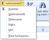 Bruke Antall tall-funksjonen til Autosummer-kommandoen