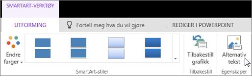 Skjermbilde viser Utforming-fanen av SmartArt-verktøy og markøren peker til alternativet Alternativ tekst.