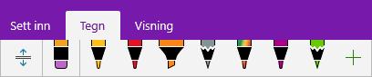 Egendefinerte penner vises i pennegalleriet i OneNote