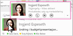 Outlook hurtigmeny i Skype for Business