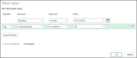 Dialogboksen Avansert radfiltrering for Excel Power BI i redigeringsprogrammet for spørring