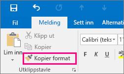 Viser knappen Kopier format i en ny melding i Outlook