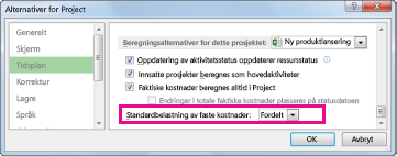 Kategorien Tidsplan i dialogboksen Alternativer for Excel