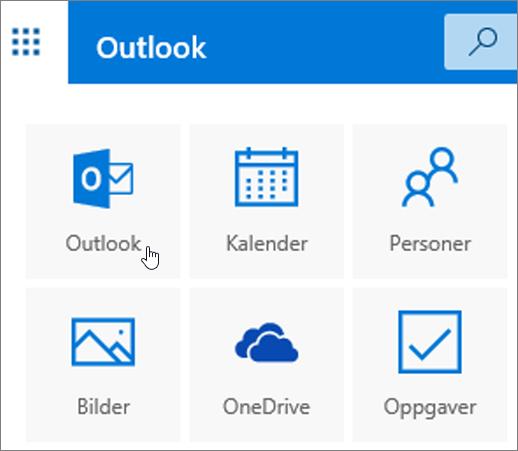 Et skjermbilde som viser Outlook-flisen valgt.