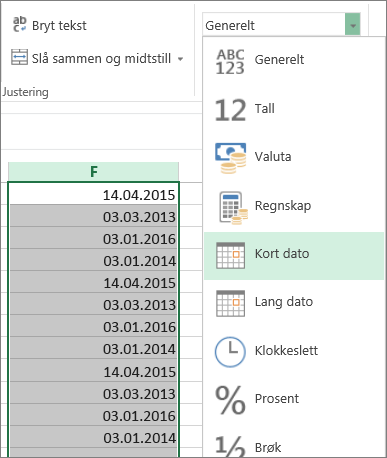 endre data til kort datoformat fra båndet