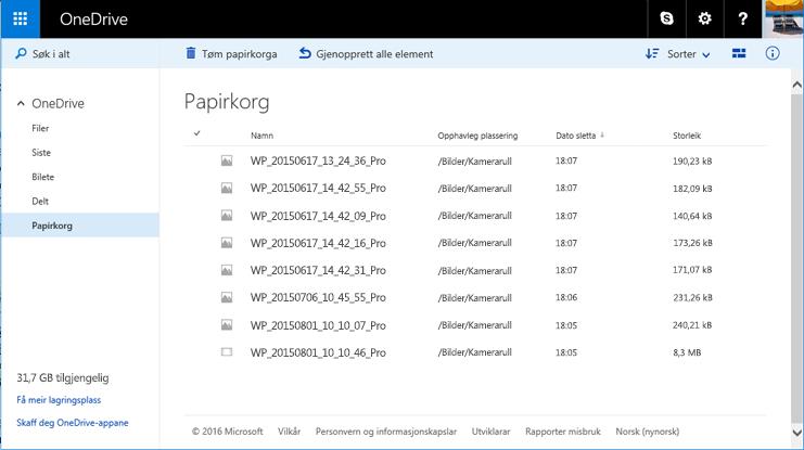 Papirkurv på OneDrive-nettstedet