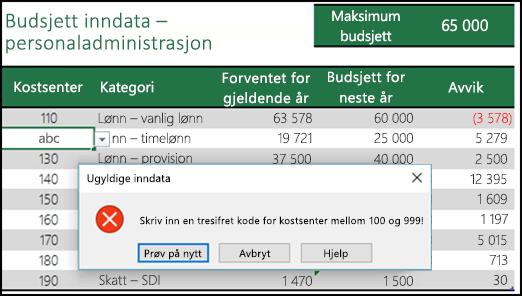 Eksempel på en ugyldig inndatamelding