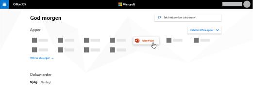 Office 365-hjemmesiden med PowerPoint-appen uthevet