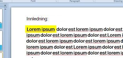 Tekstutheving simulert med en tekstboks fylt med farge