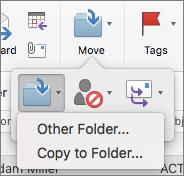 Flytte eller kopiere meldinger mellom mapper