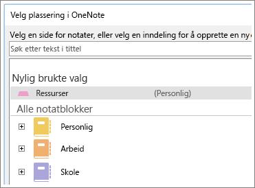 Skjermbilde av OneNote-vinduet der du kan velge hvilken side du vil ta Skype-notater på.