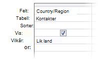"""Bilde av spørringsutforming som viser vilkår med følgende operatorer, """"like jokertegn ina"""""""