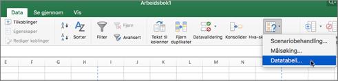 Alternativet for data-tabell