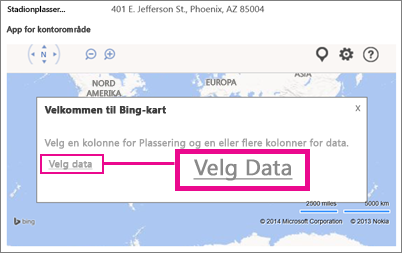 Velge data for en Bing-kartapp for Office i en Access-app