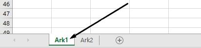 Excel regnearkfaner er nederst på Excel-vinduet.