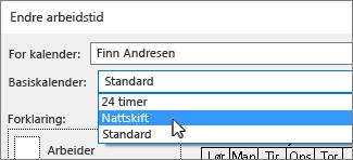 Basis kalender for en ressurs