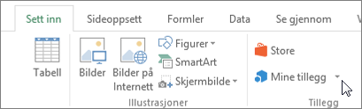 Skjermbilde av en del av kategorien Sett inn på båndet i Excel med en markør som peker på Min tilleggene Velg Mine tillegg for å få tilgang til COM-tillegg for Excel.