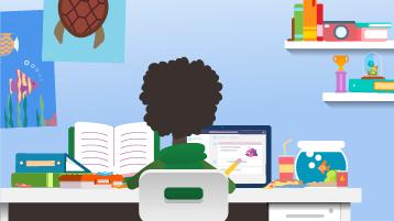 Illustrasjon av en svart elev som lærer hjemmefra