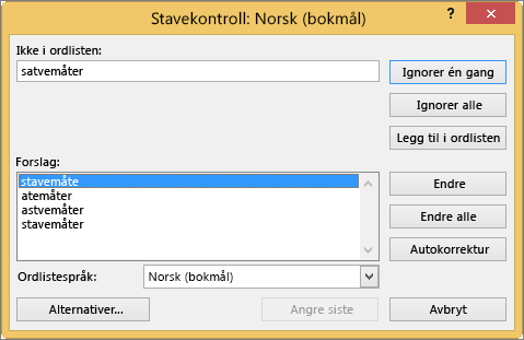Dialogboksen Stavekontroll