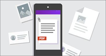 Telefon med en PDF-fil i skjermbildet og andre dokumenter rundt telefonen