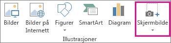Knappen Skjermbilde i Illustrasjoner-gruppen i Word