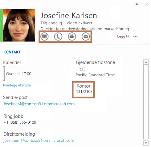 Kontaktkortet for Skype for Business