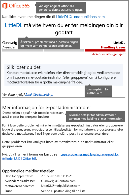 Det nyeste formatet for leveringsstatusvarsling (DSN) i Office 365