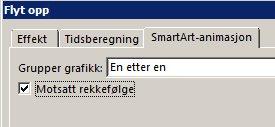 Del av kategorien SmartArt-animasjon, der avmerkingsboksen Motsatt rekkefølge vises