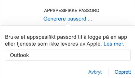 Angi et navn for app-passordet ditt